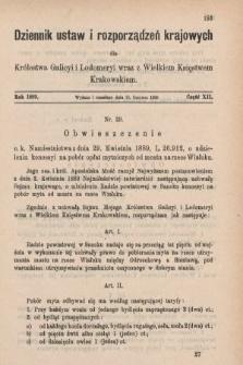Dziennik Ustaw i Rozporządzeń Krajowych dla Królestwa Galicyi i Lodomeryi wraz z Wielkiem Księstwem Krakowskiem. 1889, cz.12