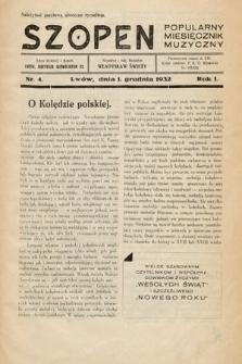 Szopen : popularny miesięcznik muzyczny. 1932, nr4