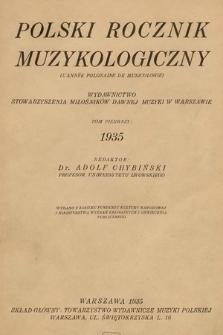 Polski Rocznik Muzykologiczny : wydawnictwo Stowarzyszenia Miłośników Dawnej Muzyki w Warszawie. 1935