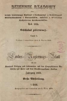 Dziennik Rządowy dla Kraju Koronnego Galicyi i Lodomeryi [...] = Landes-Regierungs-Blatt für das Kronland Galizien und Lodomerien [...]. 1854 [całość]