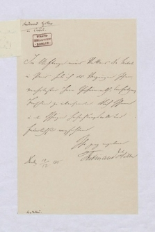 Autografy Ferdynanda Hillera i inne materiały z nim związane