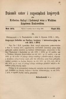 Dziennik Ustaw i Rozporządzeń Krajowych dla Królestwa Galicyi i Lodomeryi wraz z Wielkiem Księstwem Krakowskiem. 1872, cz.12
