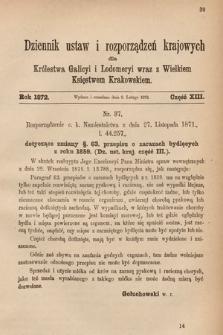 Dziennik Ustaw i Rozporządzeń Krajowych dla Królestwa Galicyi i Lodomeryi wraz z Wielkiem Księstwem Krakowskiem. 1872, cz.13