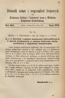 Dziennik Ustaw i Rozporządzeń Krajowych dla Królestwa Galicyi i Lodomeryi wraz z Wielkiem Księstwem Krakowskiem. 1872, cz.17
