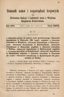 Dziennik Ustaw i Rozporządzeń Krajowych dla Królestwa Galicyi i Lodomeryi wraz z Wielkiem Księstwem Krakowskiem. 1872, cz.27