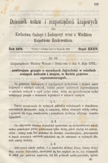 Dziennik Ustaw i Rozporządzeń Krajowych dla Królestwa Galicyi i Lodomeryi wraz z Wielkiem Księstwem Krakowskiem. 1872, cz.35
