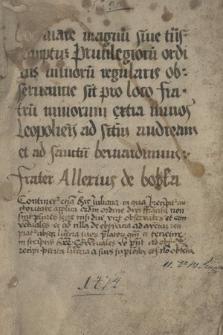 Dokument zawierający bulle różnych papieży dotyczące nadania szeregu przywilejów zakonowi franciszkanów
