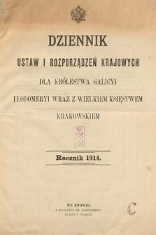 Dziennik Ustaw i Rozporządzeń Krajowych dla Królestwa Galicyi i Lodomeryi wraz z Wielkiem Księstwem Krakowskiem. 1914 [całość]
