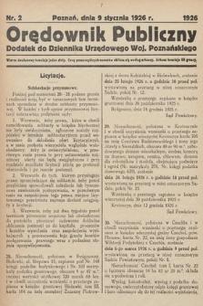 Orędownik Publiczny : dodatek do Dziennika Urzędowego Województwa Poznańskiego. 1926, nr2