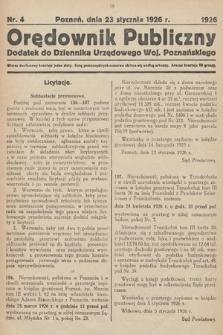 Orędownik Publiczny : dodatek do Dziennika Urzędowego Województwa Poznańskiego. 1926, nr4