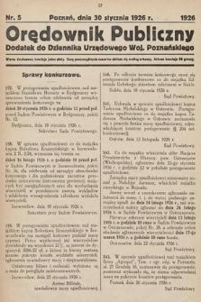 Orędownik Publiczny : dodatek do Dziennika Urzędowego Województwa Poznańskiego. 1926, nr5