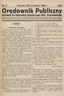 Orędownik Publiczny : dodatek do Dziennika Urzędowego Województwa Poznańskiego. 1926, nr6