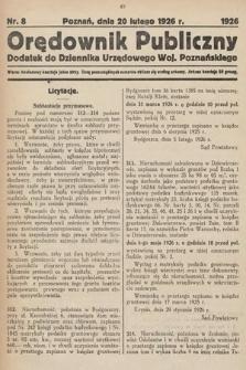 Orędownik Publiczny : dodatek do Dziennika Urzędowego Województwa Poznańskiego. 1926, nr8