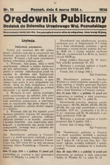 Orędownik Publiczny : dodatek do Dziennika Urzędowego Województwa Poznańskiego. 1926, nr10