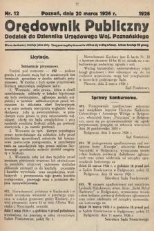 Orędownik Publiczny : dodatek do Dziennika Urzędowego Województwa Poznańskiego. 1926, nr12