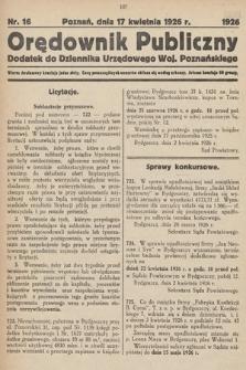 Orędownik Publiczny : dodatek do Dziennika Urzędowego Województwa Poznańskiego. 1926, nr16