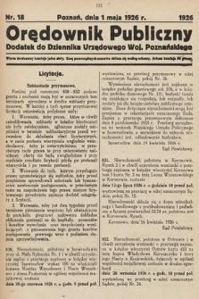 Orędownik Publiczny : dodatek do Dziennika Urzędowego Województwa Poznańskiego. 1926, nr18