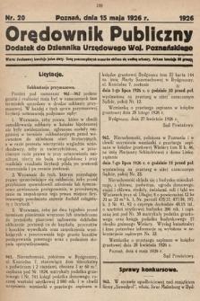 Orędownik Publiczny : dodatek do Dziennika Urzędowego Województwa Poznańskiego. 1926, nr20