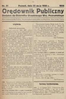 Orędownik Publiczny : dodatek do Dziennika Urzędowego Województwa Poznańskiego. 1926, nr21