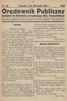 Orędownik Publiczny : dodatek do Dziennika Urzędowego Województwa Poznańskiego. 1926, nr22