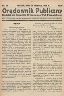 Orędownik Publiczny : dodatek do Dziennika Urzędowego Województwa Poznańskiego. 1926, nr26