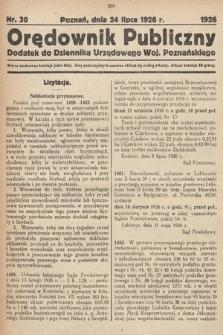 Orędownik Publiczny : dodatek do Dziennika Urzędowego Województwa Poznańskiego. 1926, nr30