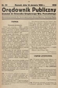 Orędownik Publiczny : dodatek do Dziennika Urzędowego Województwa Poznańskiego. 1926, nr33