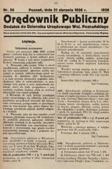 Orędownik Publiczny : dodatek do Dziennika Urzędowego Województwa Poznańskiego. 1926, nr34
