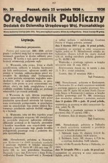 Orędownik Publiczny : dodatek do Dziennika Urzędowego Województwa Poznańskiego. 1926, nr39