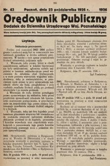 Orędownik Publiczny : dodatek do Dziennika Urzędowego Województwa Poznańskiego. 1926, nr43
