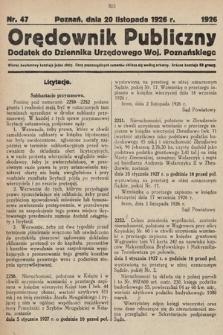 Orędownik Publiczny : dodatek do Dziennika Urzędowego Województwa Poznańskiego. 1926, nr47