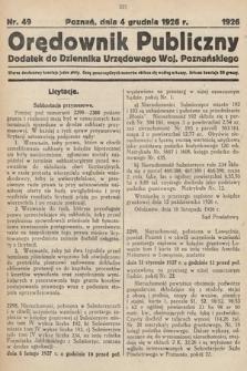 Orędownik Publiczny : dodatek do Dziennika Urzędowego Województwa Poznańskiego. 1926, nr49