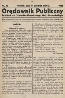Orędownik Publiczny : dodatek do Dziennika Urzędowego Województwa Poznańskiego. 1926, nr50