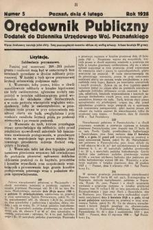 Orędownik Publiczny : dodatek do Dziennika Urzędowego Województwa Poznańskiego. 1928, nr5