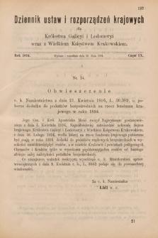Dziennik Ustaw i Rozporządzeń Krajowych dla Królestwa Galicyi i Lodomeryi wraz z Wielkiem Księstwem Krakowskiem. 1894, cz.9