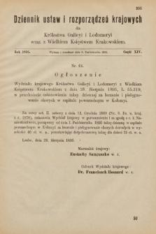 Dziennik Ustaw i Rozporządzeń Krajowych dla Królestwa Galicyi i Lodomeryi wraz z Wielkiem Księstwem Krakowskiem. 1895, cz.14