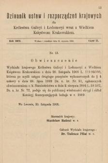 Dziennik Ustaw i Rozporządzeń Krajowych dla Królestwa Galicyi i Lodomeryi wraz z Wielkiem Księstwem Krakowskiem. 1909, cz.2