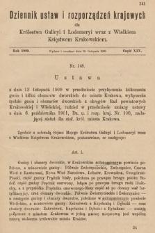 Dziennik Ustaw i Rozporządzeń Krajowych dla Królestwa Galicyi i Lodomeryi wraz z Wielkiem Księstwem Krakowskiem. 1909, cz.19