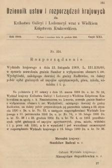 Dziennik Ustaw i Rozporządzeń Krajowych dla Królestwa Galicyi i Lodomeryi wraz z Wielkiem Księstwem Krakowskiem. 1909, cz.21
