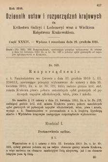 Dziennik Ustaw i Rozporządzeń Krajowych dla Królestwa Galicyi i Lodomeryi wraz z Wielkiem Księstwem Krakowskiem. 1910, cz.34