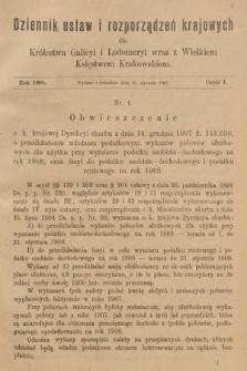 Dziennik Ustaw i Rozporządzeń Krajowych dla Królestwa Galicyi i Lodomeryi wraz z Wielkiem Księstwem Krakowskiem. 1908, cz.1