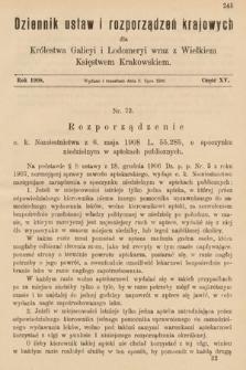 Dziennik Ustaw i Rozporządzeń Krajowych dla Królestwa Galicyi i Lodomeryi wraz z Wielkiem Księstwem Krakowskiem. 1908, cz.15