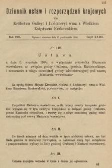 Dziennik Ustaw i Rozporządzeń Krajowych dla Królestwa Galicyi i Lodomeryi wraz z Wielkiem Księstwem Krakowskiem. 1908, cz.23