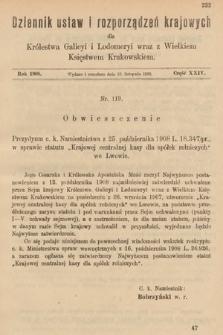Dziennik Ustaw i Rozporządzeń Krajowych dla Królestwa Galicyi i Lodomeryi wraz z Wielkiem Księstwem Krakowskiem. 1908, cz.24