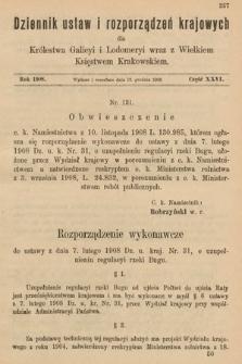 Dziennik Ustaw i Rozporządzeń Krajowych dla Królestwa Galicyi i Lodomeryi wraz z Wielkiem Księstwem Krakowskiem. 1908, cz.26