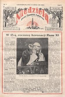 Niedziela : ilustrowany tygodnik katolicki Diecezji Częstochowskiej. 1935, nr7