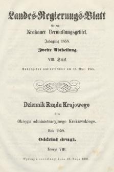 Dziennik Rządu Krajowego dla Okręgu Administracyjnego Krakowskiego. 1858, oddział 2, z.8