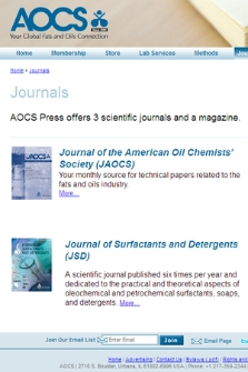 American Oil Chemists' Society : Journals