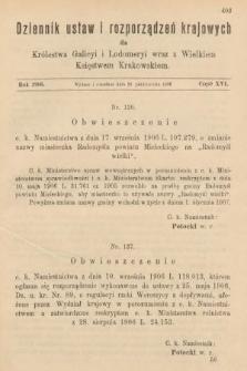 Dziennik Ustaw i Rozporządzeń Krajowych dla Królestwa Galicyi i Lodomeryi wraz z Wielkiem Księstwem Krakowskiem. 1906, cz.16