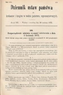 Dziennik Ustaw Państwa dla Królestw i Krajów w Radzie Państwa Reprezentowanych. 1872, zeszyt19